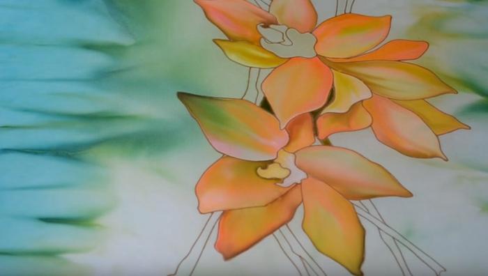 fleurs peinture sur soie