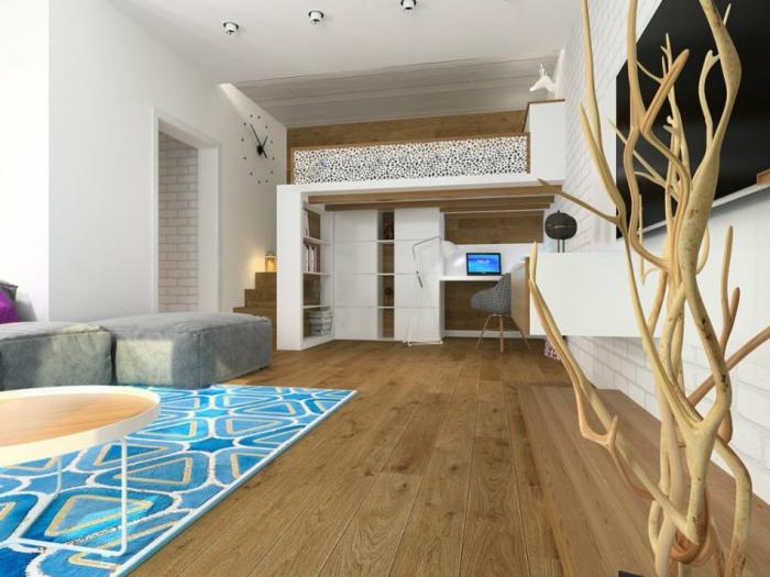 lit mezzanine salon parquet tapis graphique