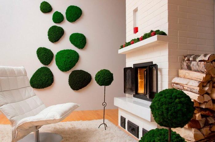 mousse végétale déco murale salon