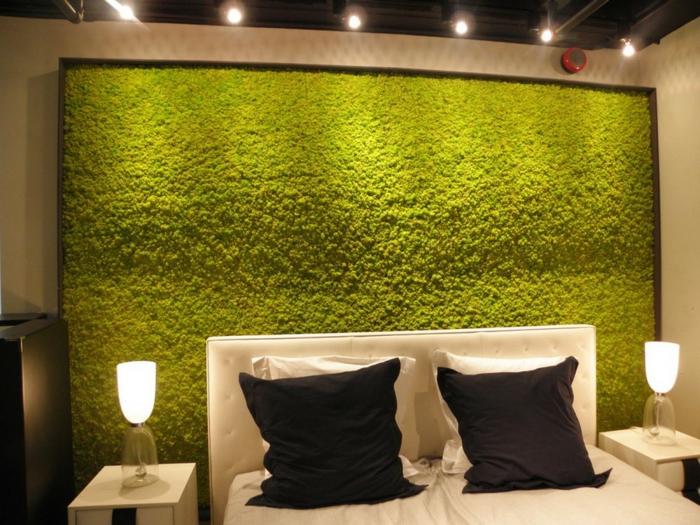 mur décoré de mousse végétale chambre à coucher