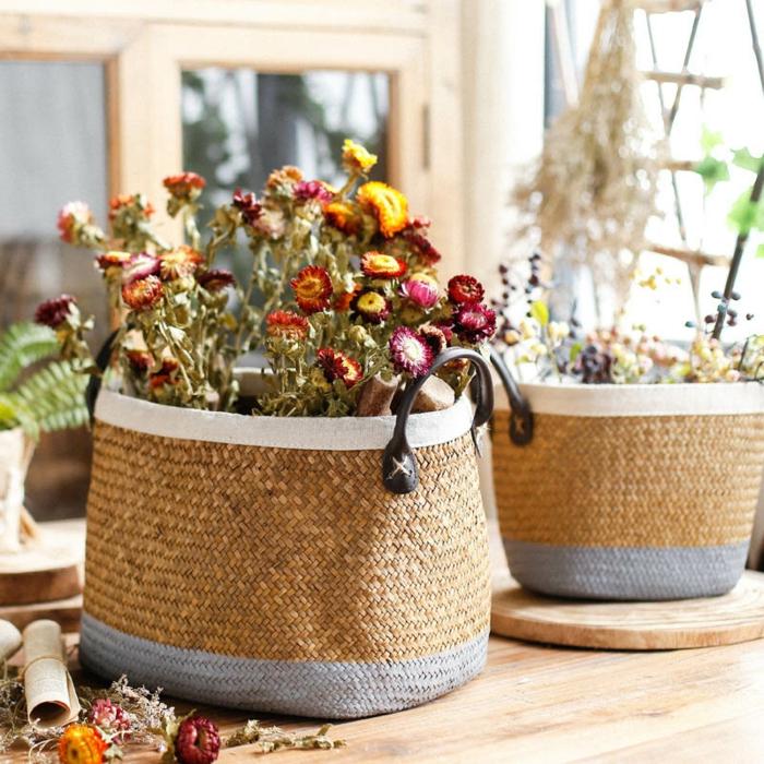 panier tressé cache pot fleurs