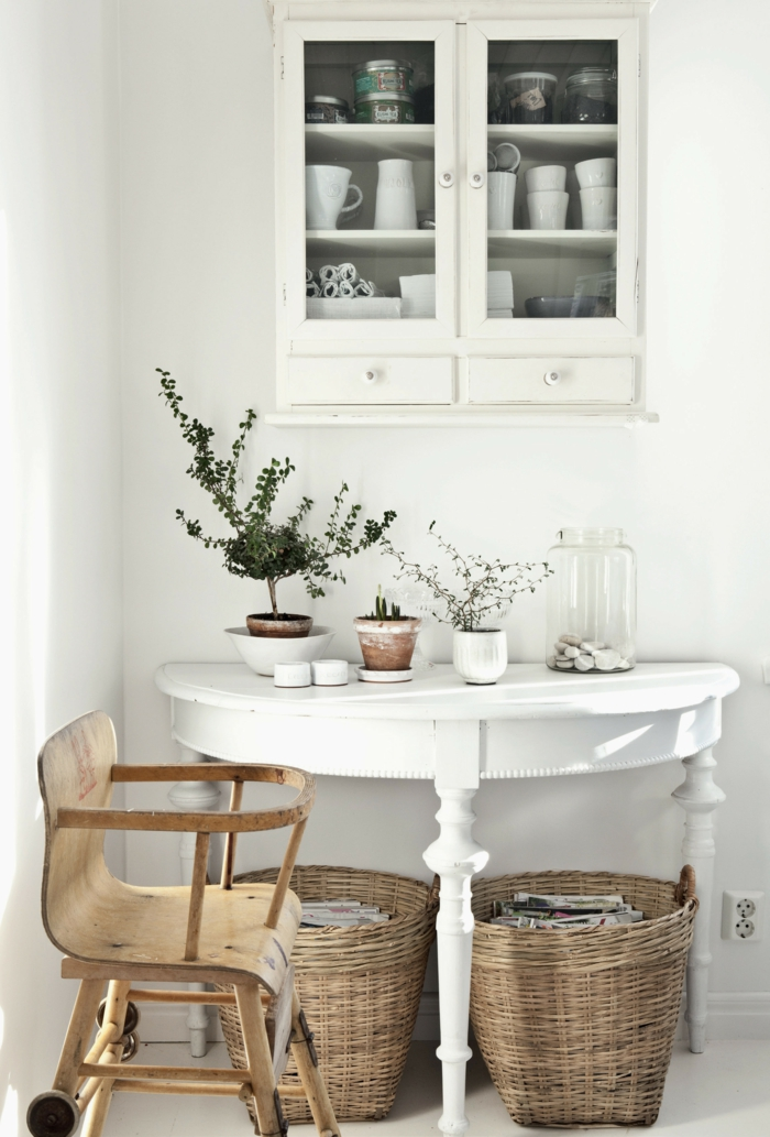 panier tressé table semi-circulaire cuisine