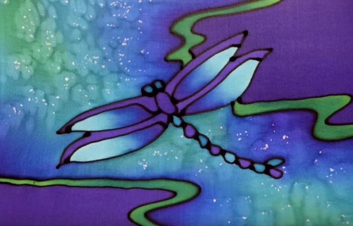 peinture sur soie avec du sel le résultat