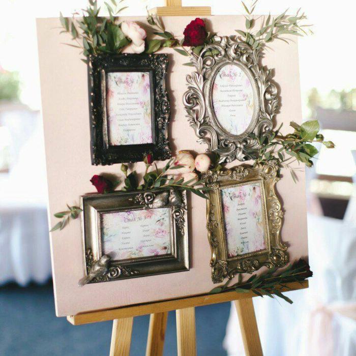 plan de table mariage réalisé avec des cadres photos