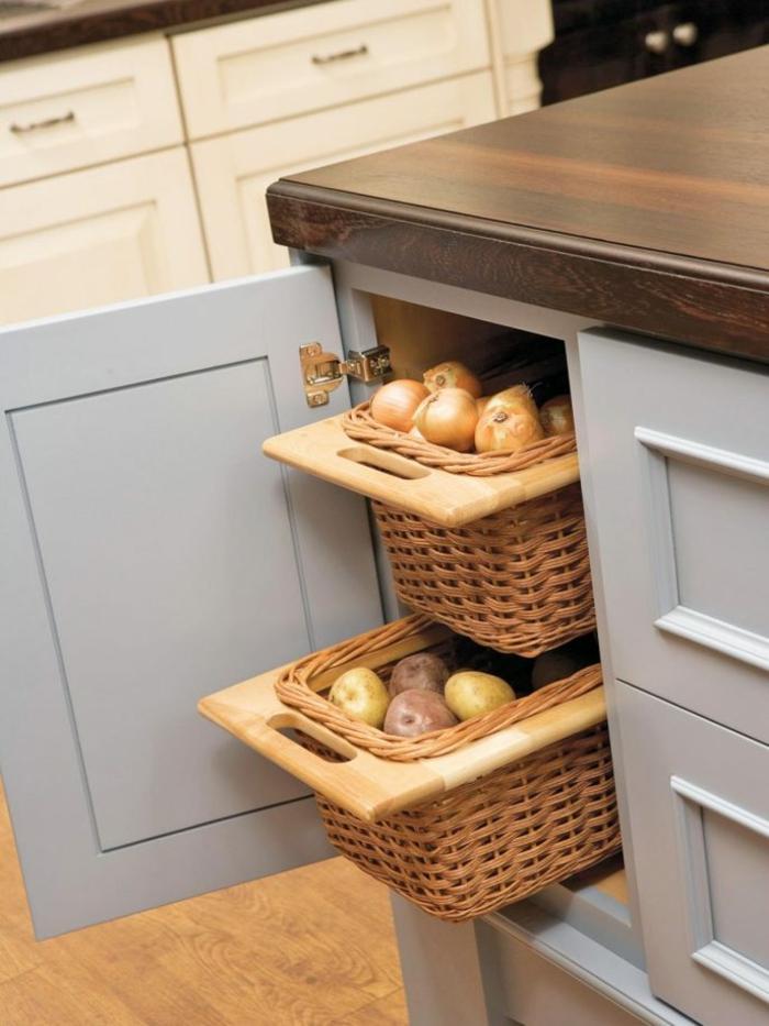rangement cuisine tiroirs panier tressé