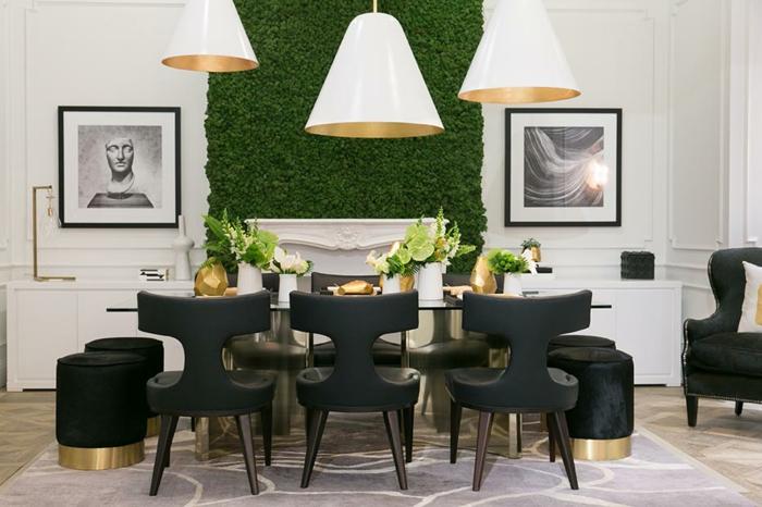 salle à manger idée déco mousse végétale