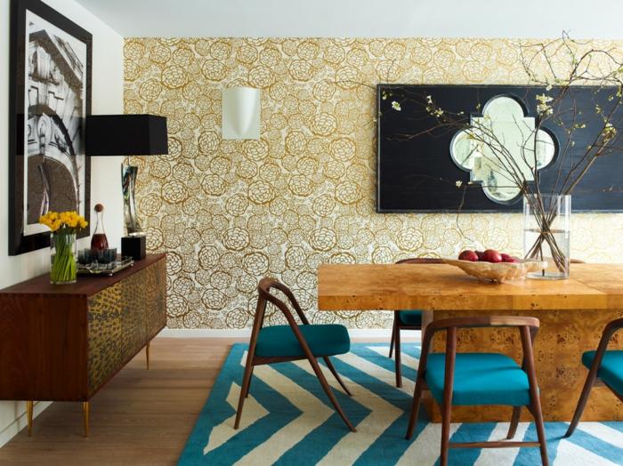 salle à manger tapis graphique bleu et blanc