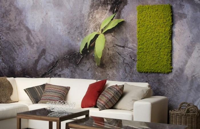 salon cosy déco murale mousse végétale