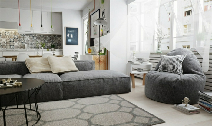 salon cuisine gris et blanc tapis graphique