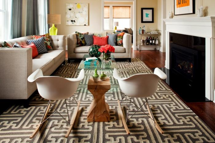 salon moderne avec cheminée tapis graphique