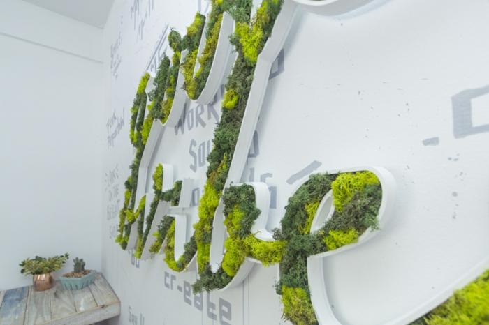 salon scandinave déco murale mousse végétale