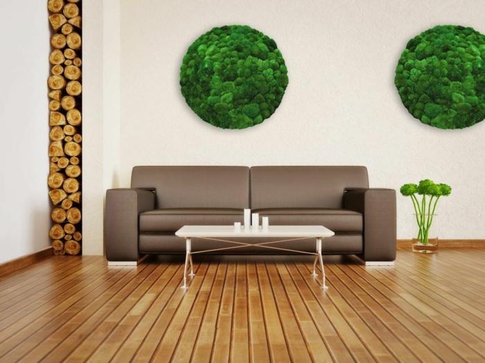 tableaux ronds déco de mur mousse végétale