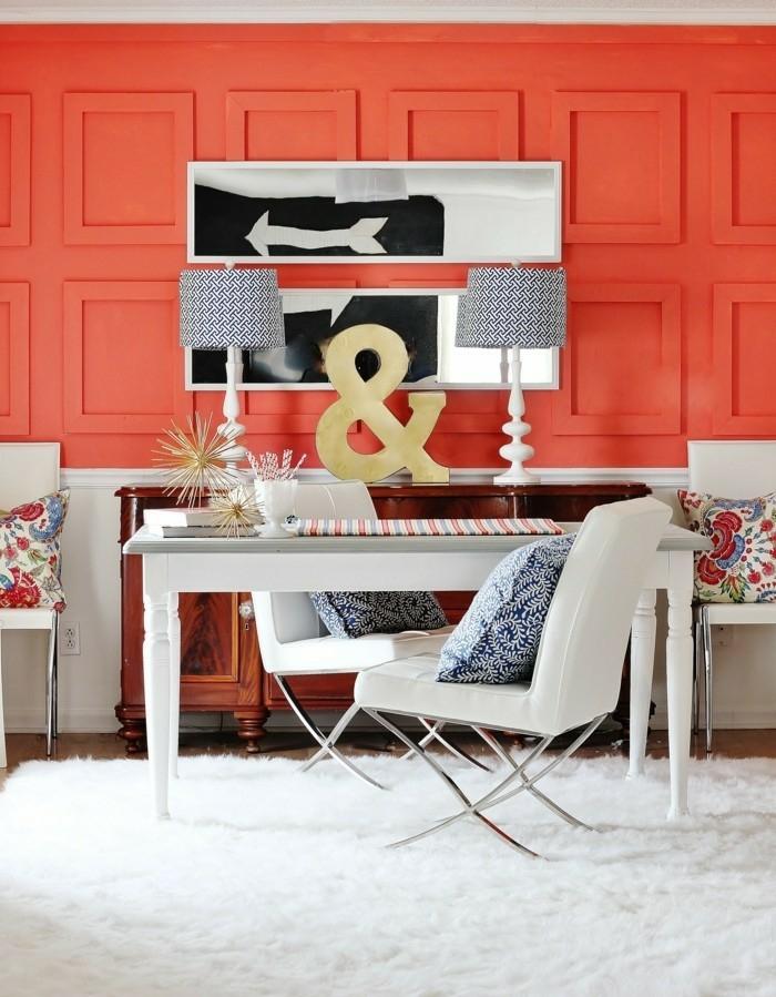 aménagement salon couleur corail
