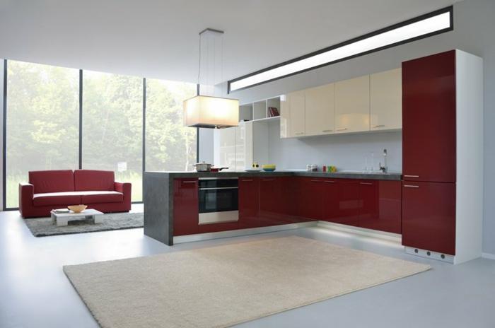 armoires de cuisine en couleur lie de vin