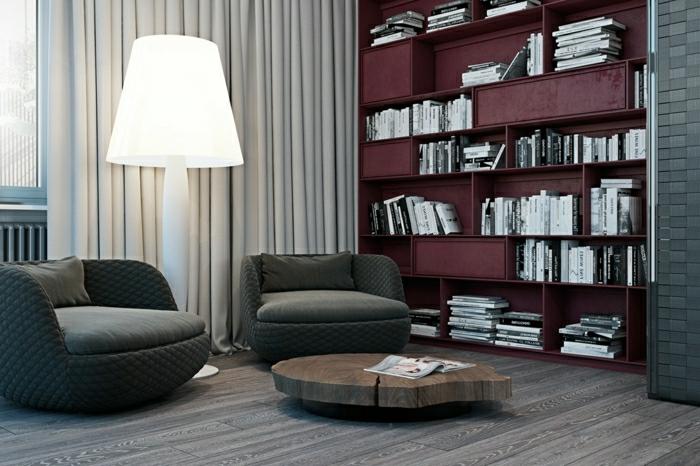 bibliothèque en couleur lie de vin dans le salon