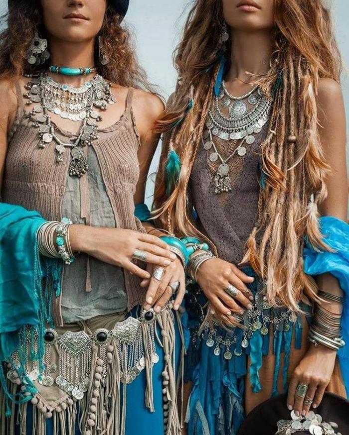 bijoux modernes à porter avec la robe longue bohème