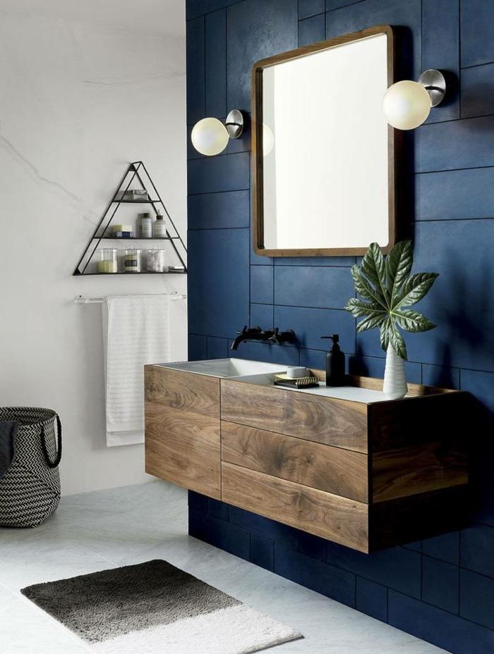 carrelage salle de bain en couleur indigo