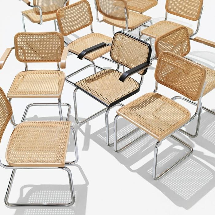 chaise sesca inventée en 1928 en cannage