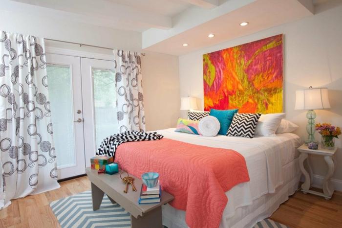 chambre accueillante housse lit couleur corail