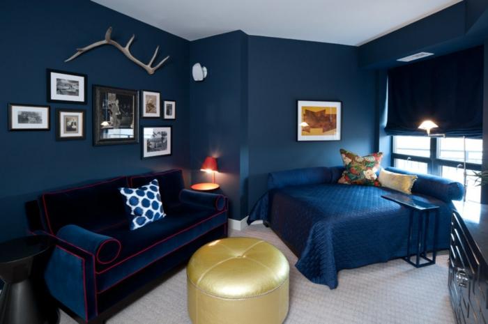 chambre couleur indigo moquette beige
