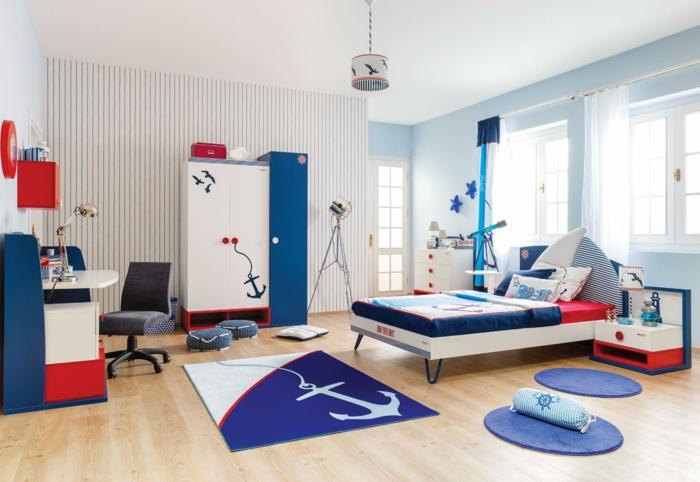 chambre d'enfant déco accents en couleur indigo