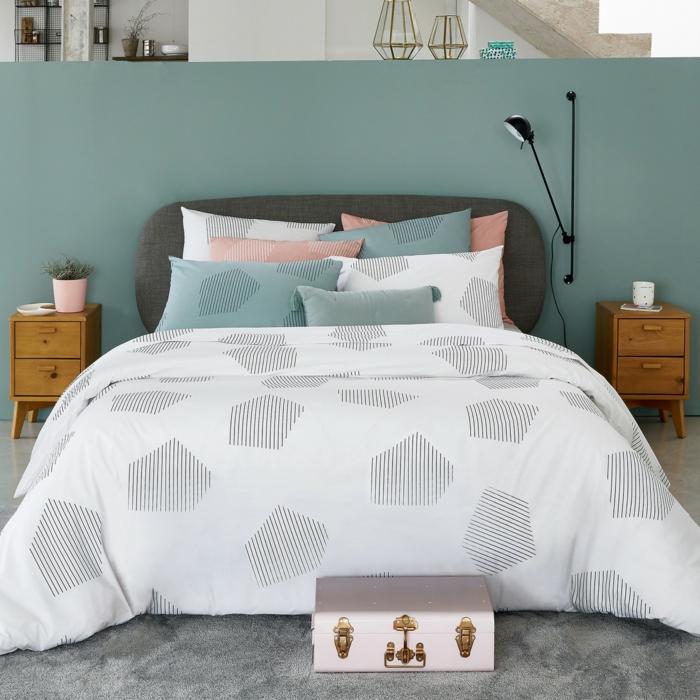 chambre pastel avec linge de lit percale de coton