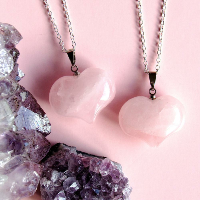 collier en rose quartz lithothérapie