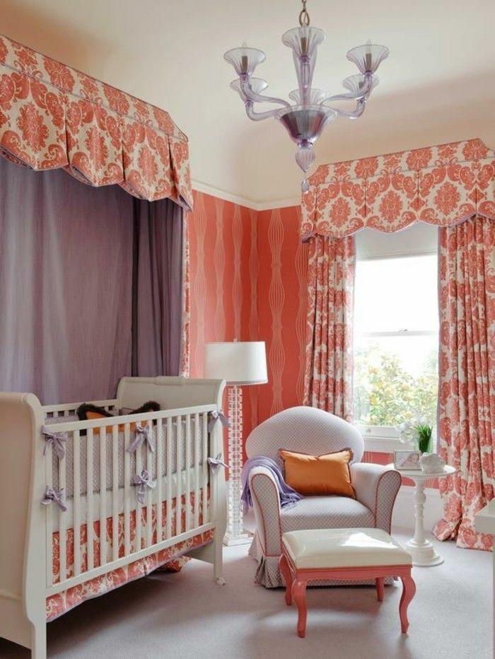 couleur corail dans la déco chambre bébé