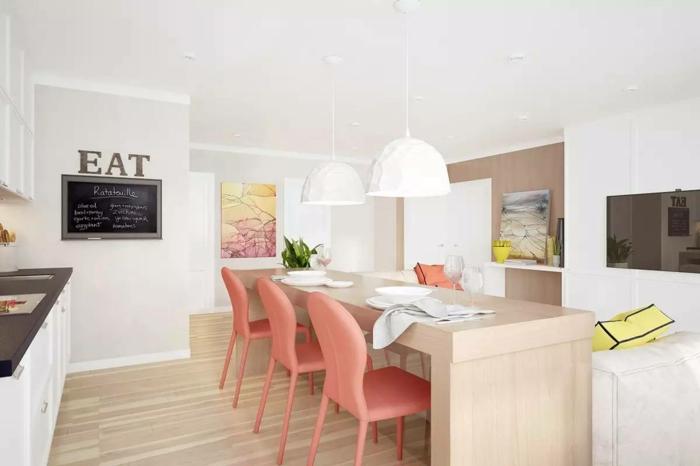 couleur corail dans l'intérieur cuisine