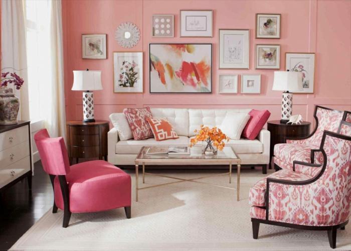 couleur corail idée de peinture murale salon