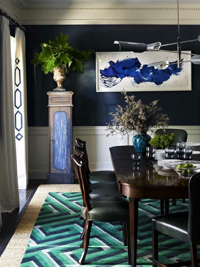 couleur indigo peinture murale tapis vert émeraude graphique