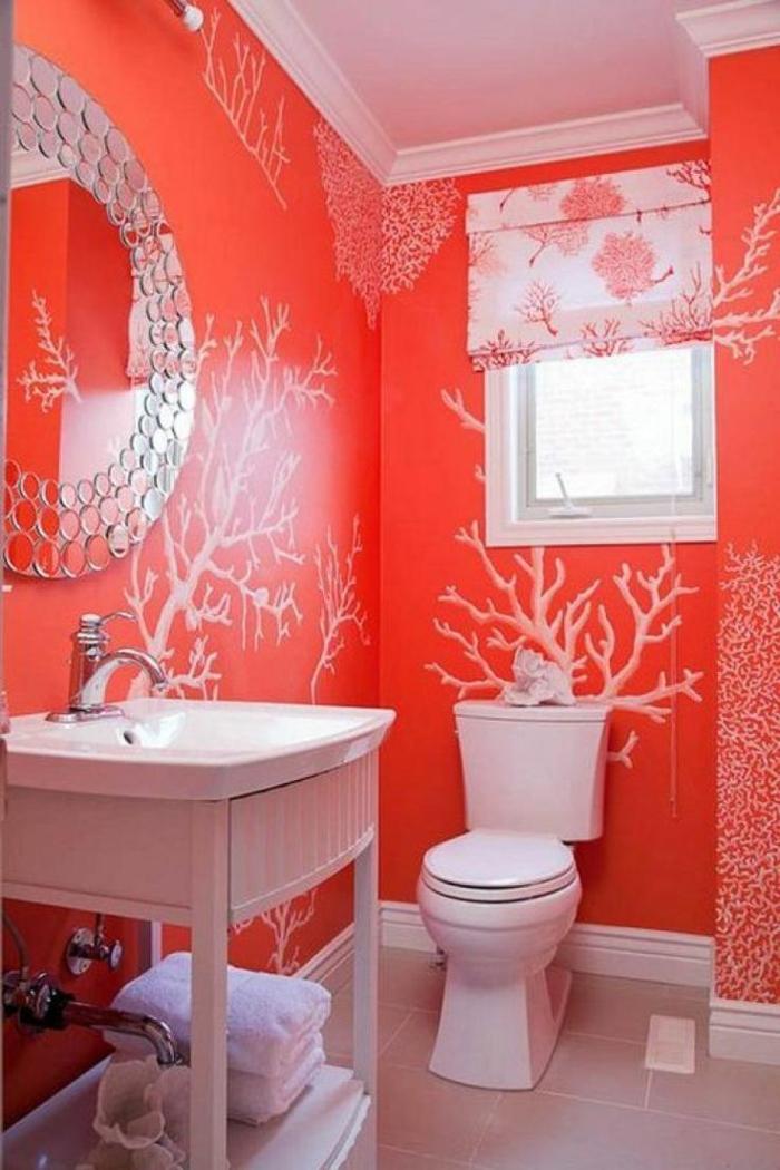 couleur peinture toilettes couleur corail