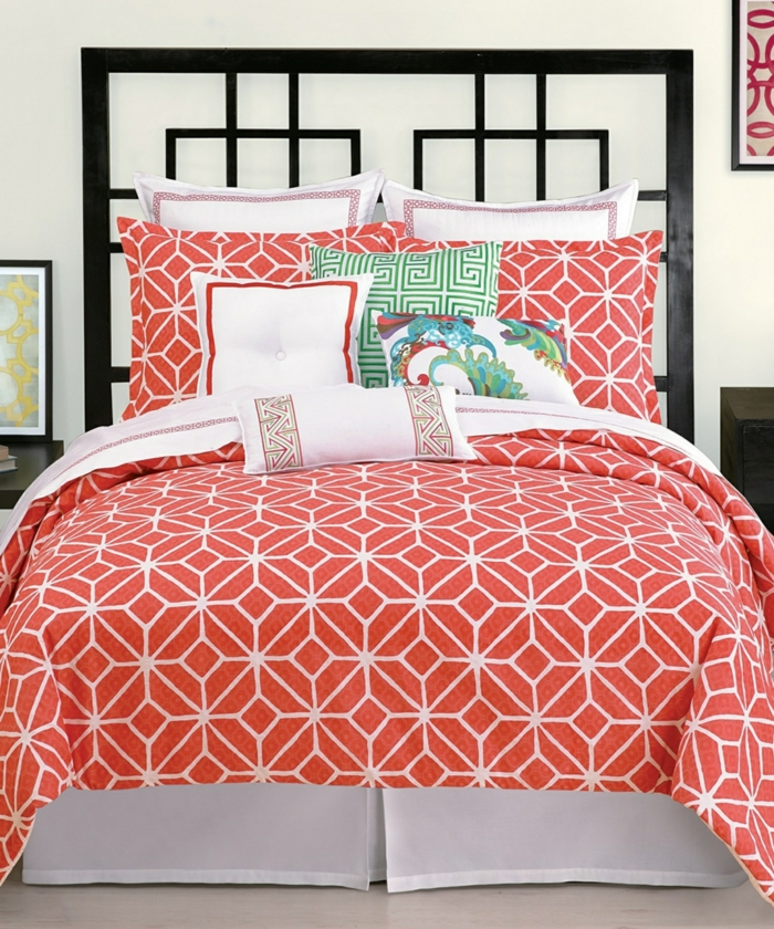 couverture de lit chambre couleur corail