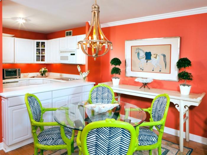 cuisine et salle à manger couleur corail