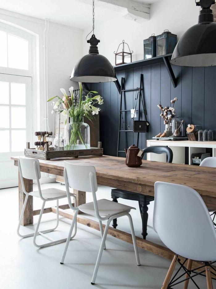 cuisine industrielle lambris mural en couleur indigo