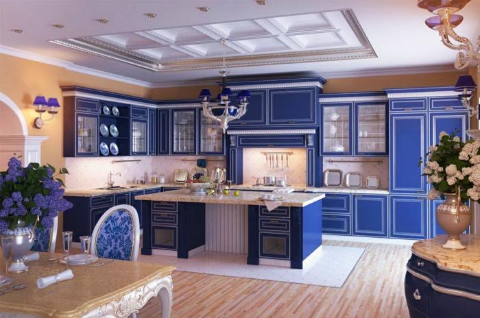 cuisine rétro en couleur indigo