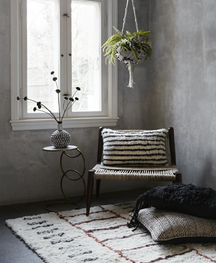 déco berbère salon gris tapis berbère