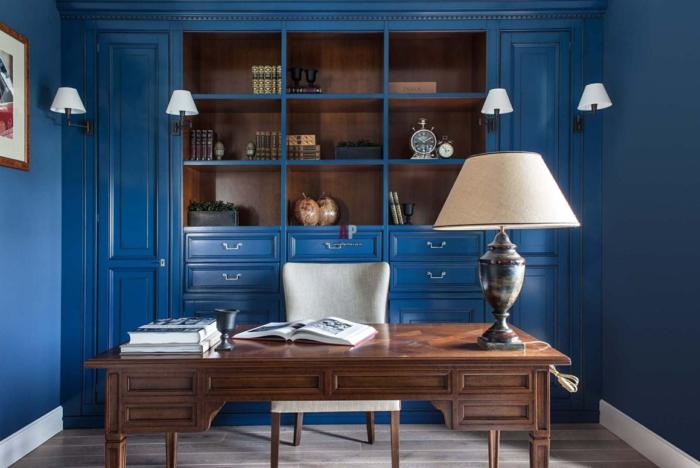 déco cabinet couleur indigo bureau en bois massif