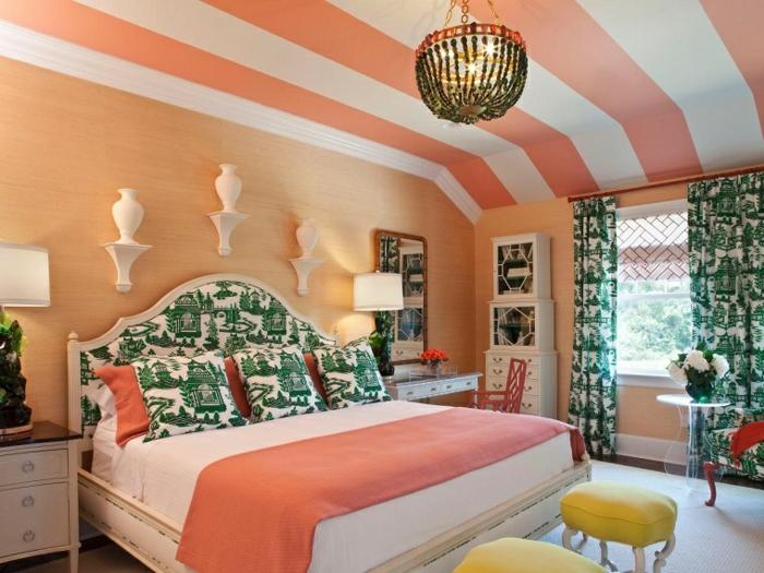 déco chambre couleur corail et vert