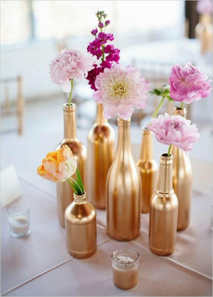 déco mariage vase soliflore doré