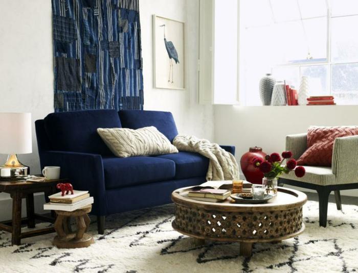 déco salon couleur indigo tapis berbère