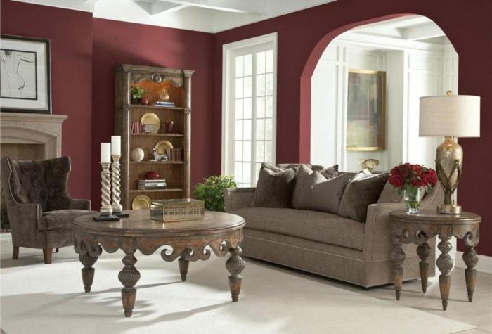 déco salon couleur lie de vin mobilier en bois massif
