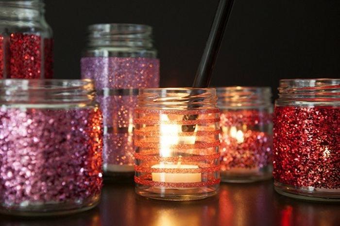 diy lanterne jardin avec des paillettes