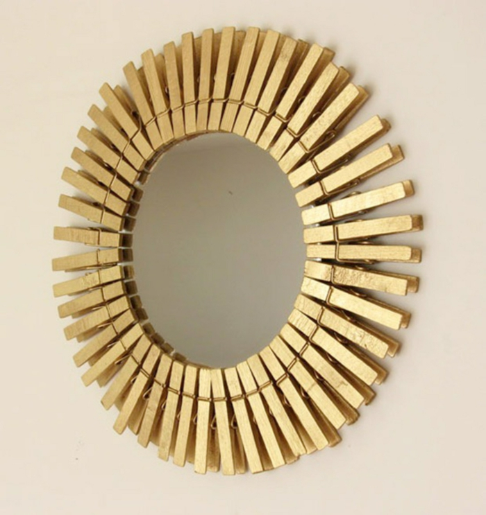 diy miroir rond avec des pinces à linge