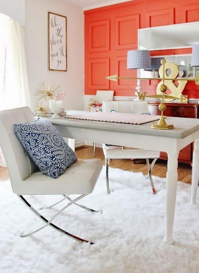 espace cabinet déco en couleur corail