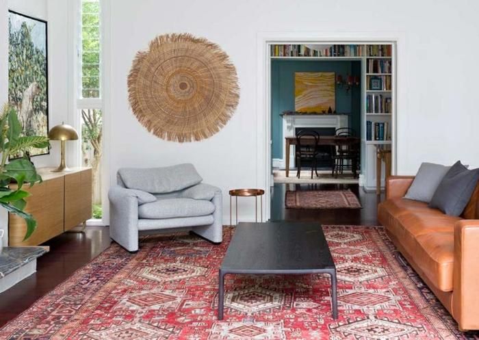 idée déco salon élégant tapis berbère