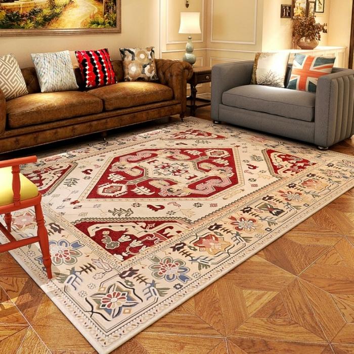 idée déco salon cosy tapis berbère