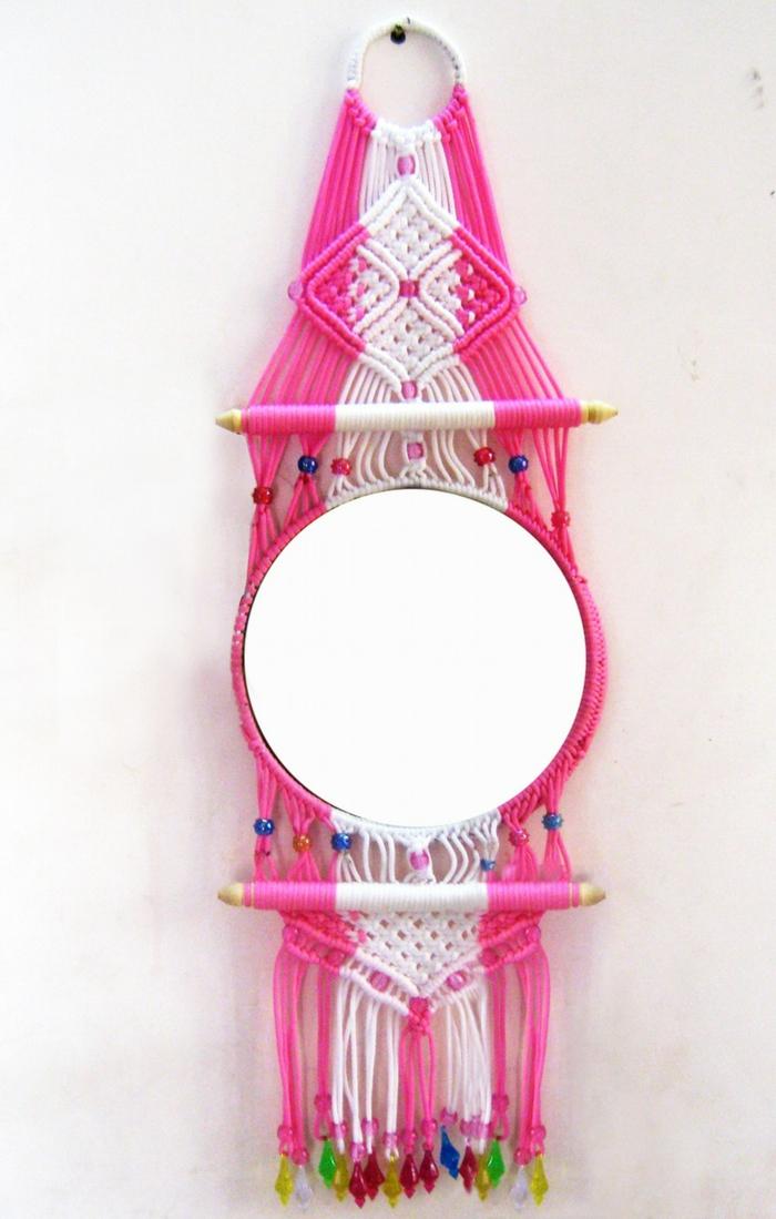 idée de diy miroir avec la technique macramé