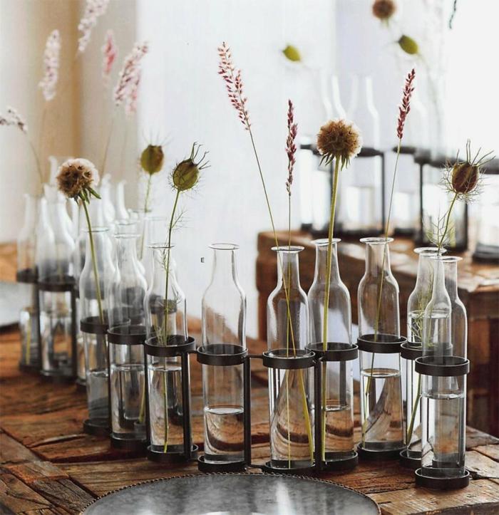 idée de vase soliflore fleurs séchées