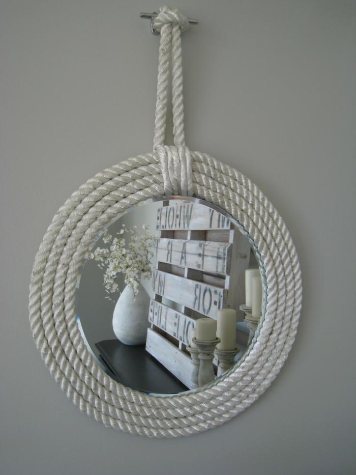 idée design de diy miroir avec de la corde